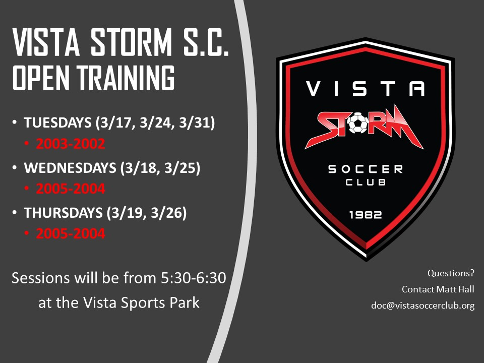 Vista Storm S.C. Announces Free Open Clinics