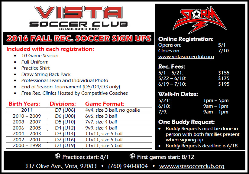 Sign Up Now for 2016 Fall Recreation